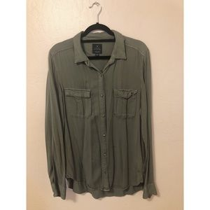 6c6683db8d7db American Eagle Olive Green Button Down